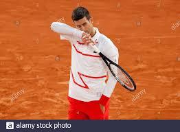 Tennis - French Open - Roland Garros, Paris, France - October 3, 2020  Serbia's Novak Djokovic during his third round match against Colombia's  Daniel Elahi Galan Riveros REUTERS/Christian Hartmann Stock Photo - Alamy