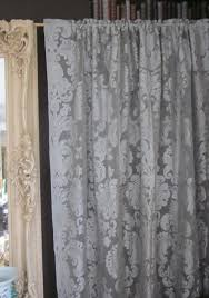 vintage lace curtain panels awe inspiring anne marie french grey caux antique style damask madras cotton