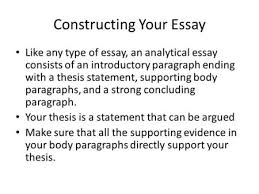 writing the analytical essay ppt  constructing your essay like any type of essay an analytical essay consists of an introductory