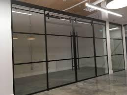 glass doors for office. Marvelous Matte Black Mullion Sliding Glass Doors Office For Commercial Styles And Inspiration