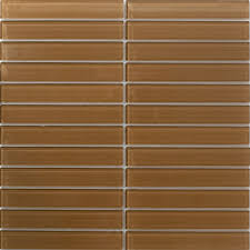 sheet of 1x6 inch brown glass subway tile