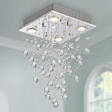 Moderne Kristall Regentropfen Kronleuchter Beleuchtung Unterputz Led Deckenleuchte Leuchte Pendelleuchte Für Esszimmer Badezimmer 4 Gu10 Led Birnen