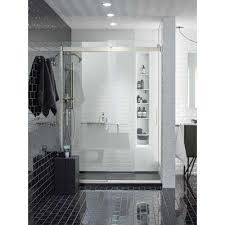 frameless sliding shower door in nickel with handle