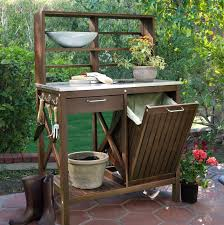 outdoor potting bench with storage