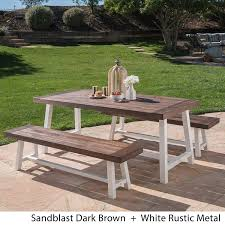 Amazon com great deal furniture cassie 3 piece acacia wood picnic table outdoor dining set for patio or deck 2 benches garden outdoor