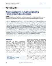 Antimicrobial activity of Backhousia citriodora (lemon myrtle) methanolic  extracts