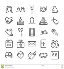 Outline Icon Set Wedding Stock Vector Illustration Of Bouquet
