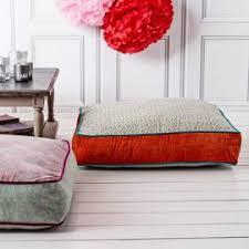 modular floor pillows. Minimalist Decoration Interior With Modular Floor Pillows Red Paint Color And Narrow Wooden Coffee Table I