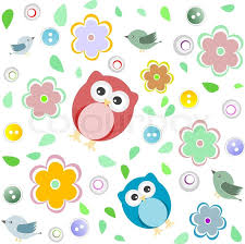 Owl Pattern Gorgeous Seamless Colourful Owl Pattern For Kids Vector Background Stock