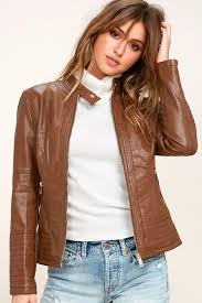 special style collarless jacket brown moto jacket women yz51520 brown best ing coalition la trendy vegan