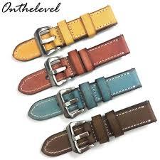 senarai harga 20mm 22mm 24mm leather watch strap italy genuine leather 4 colors watchband brush buckle watch band for women man e terbaru di malaysia