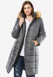 knee length quilted parka with faux fur trim hood