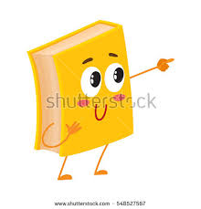 funny book character pointing to something with finger cartoon vector ilration isolated on white background