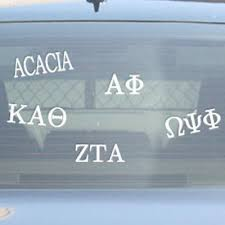 car letter decals sorority fraternity stickers car decals greek license plate frames