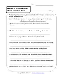 Combining Sentences Using Plural Possessive Nouns Worksheet for ...