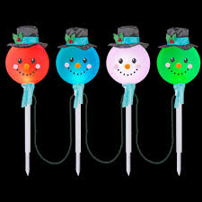Synchro Lights Home Depot Lightshow 25 20 In Color Changing Snowman Pathway Stakes Set Of 4