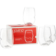 above the ubiquitous govina stemless wine glasses are made of ultra light shatterproof plastic and come with a thumb notch for easy gripping