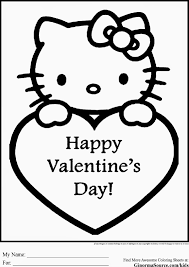Printable Valentine Coloring Pages Hello Kitty With Free Valentines