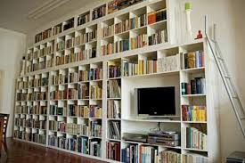 If you have a) the room and b) the book collection, consider making your  books the focal point of living space.