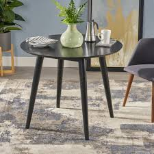 Bass Mid Century Modern Round Faux Wood Dining Table Gdf Studio