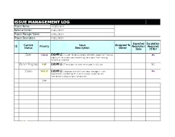 Risk Management Log Template Example Project Issue Issues Sample