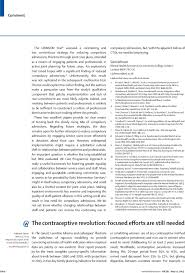 the contraceptive revolution focused efforts are still needed  first page of article