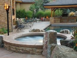 hot tub and fire pit Garden Pinterest Hot tubs Tubs and Backyard