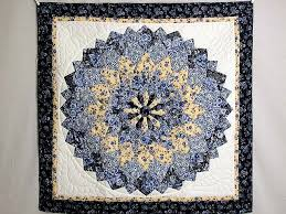 Giant Dahlia Quilt -- great made with care Amish Quilts from ... & Blue and Yellow Giant Dahlia Wall Hanging Photo 1 ... Adamdwight.com