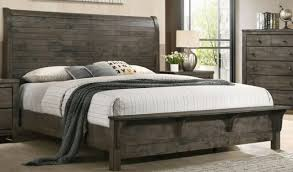wood sleigh bed slatted headboard and footboard rustic oak finish queen size for