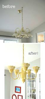 painting a brass chandelier makeover paint polished