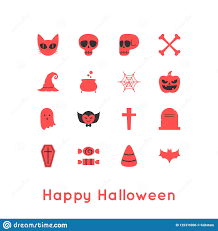 Two Tone Icons Happy Halloween Greeting Card And Icon Stock Vector Illustration