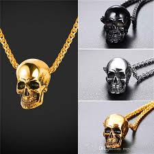 whole u7 skull pendant necklace stainless steel gold plated black plated mens skull necklace punk gothic necklace gift gp2776 tanzanite