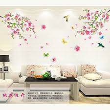 Small Picture Amaonm Pink Cherry Blossom Tree Flowers Birds and Butterfly Wall