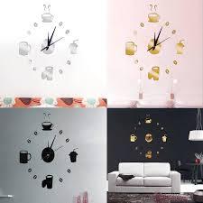 big wall clock 3d mirror sticker unique