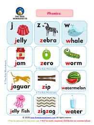 Includes differentiated support and independent sheets. Phonics Poster Flashcards J Z W The Kids Worksheets
