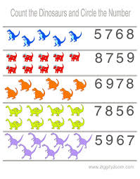 Preschool Worksheet Counting Dinosaurs | Worksheets, Printable ...