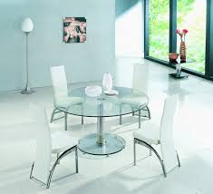 planet large round clear glass dining table with ashley chairs