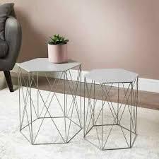 malvern set of 2 grey hexagon tables