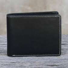 men s genuine leather wallet in black from thailand genuine in jet black