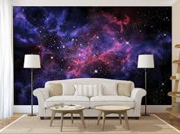 Wall Mural For Living Room Blue Purple Galaxy Wall Mural Self Adhesive Peel And Stick