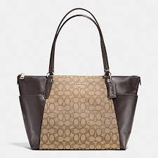 COACH f54797 AVA TOTE IN OUTLINE SIGNATURE IMITATION GOLD KHAKI BROWN