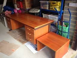 large cherry wood desk matching low level printer table