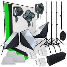 com linco linco 2000 watt photo studio lighting kit with 3 color muslin backdrop stand photography flora x fluorescent 4 socket light bank and