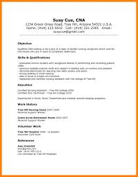 Objective On Resume For Cna Working Experience Resume Sample Cna No Template Objective For 83