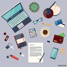 designer office desk isolated objects top view. Top View Of Desk Background With Laptop, Digital Devices, Office Objects, Books And Designer Isolated Objects