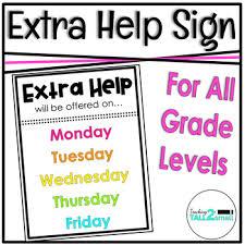 Extra Help Sign By Teaching Tall 2 Small Teachers Pay Teachers
