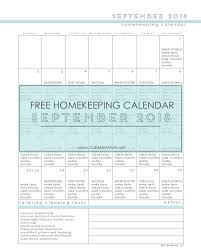 Free Homekeeping Calendar September 2018 Clean Mama