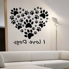 i love dogs paw print wall stickers heart removable diy home decor bedroom wall decals vinyl