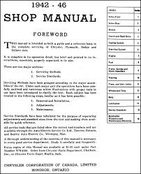 1942 1946 plymouth dodge chrysler desoto canadian repair shop table of contents