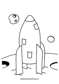 Kleurplaat Raket Maan Mars Aarde Vervoer